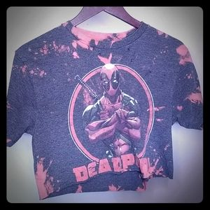 Deadpool Distressed and bleach tye dye  crop